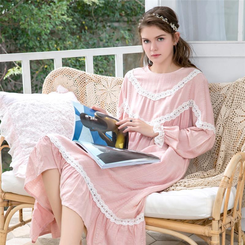 睡裙女春秋纯棉可爱甜美仙女宫廷长袖睡衣女秋纯棉公主风长款睡裙