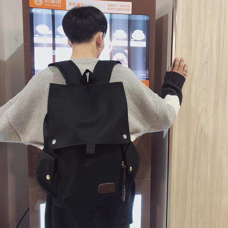 日韩青年文艺风背包男士双肩包时尚潮流中学生翻盖书包休闲旅行包