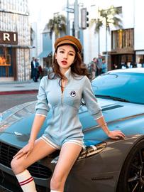 子仙仙子女装连体裤2020新款夏季休闲性感七分袖条纹针织连衣裤女