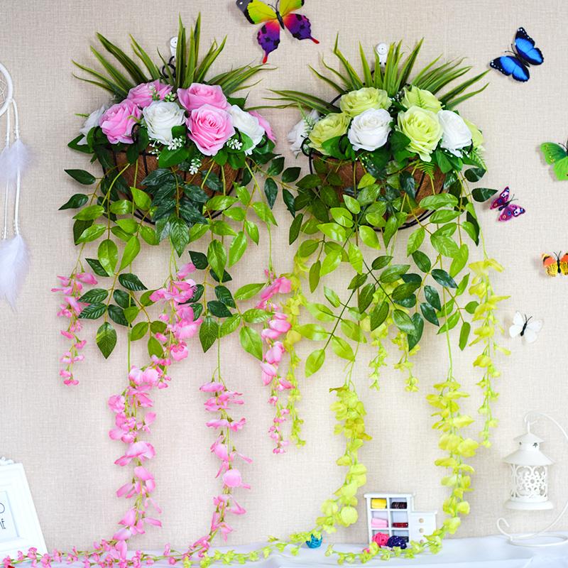挂件花花玄关柜室内造景假花假草仿真装饰 垂掉 挂壁花卉绿植阳台