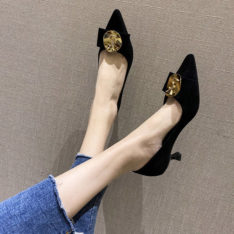 French girls high-heeled shoes fashion new style temperament womens slim heel versatile net red small fresh square button shallow mouth single shoe woman