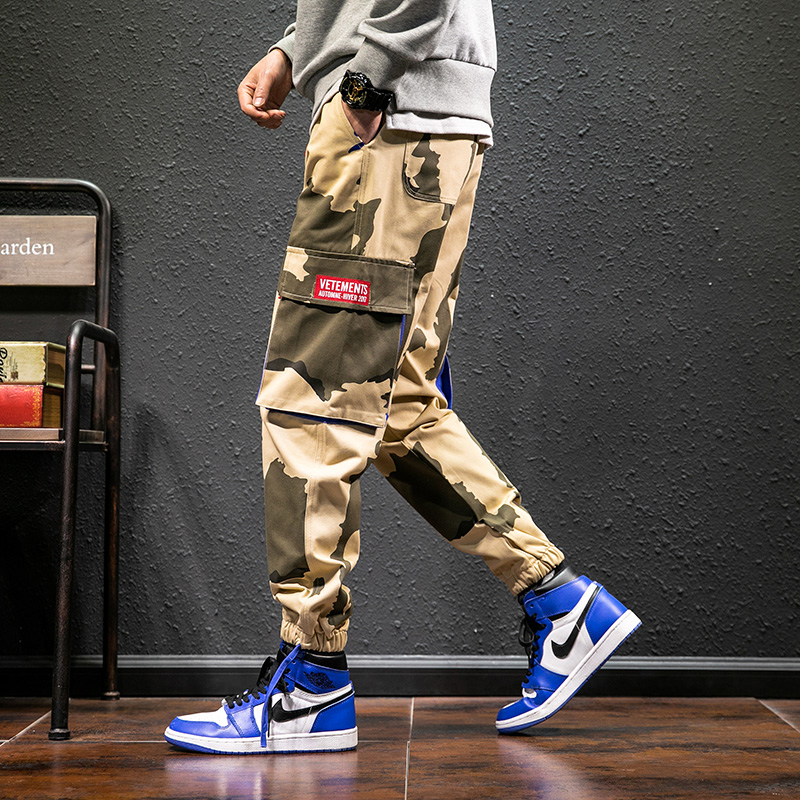 Spring and autumn pants mens ins Korean fashion label printed camouflage pants loose and slightly fat work clothes small leg student casual pants