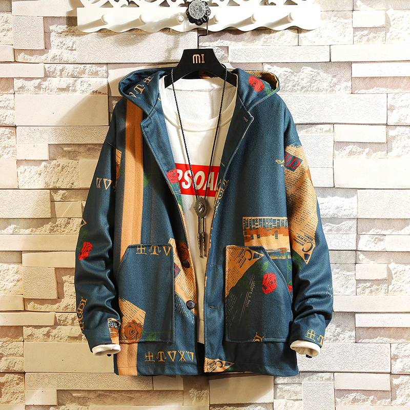 Jacket mens 2020 spring fashion student campus national style Hoodie Jacket thin slightly fat trend large size top