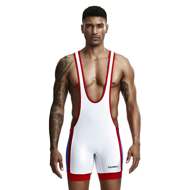 特为男士连体裤 弹性涤纶丝滑印字吊背连体平脚裤运动摔跤服 9701