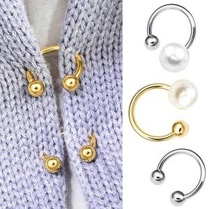 双头珍珠螺丝扣U形成衣配饰 衣领袖口固定装饰一字插针螺旋扣胸针
