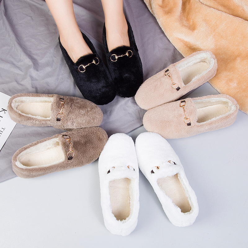 Net red plush shoes womens 2020 new autumn and winter wear one foot flat cotton shoes with plush pea shoes Plush scoop shoes