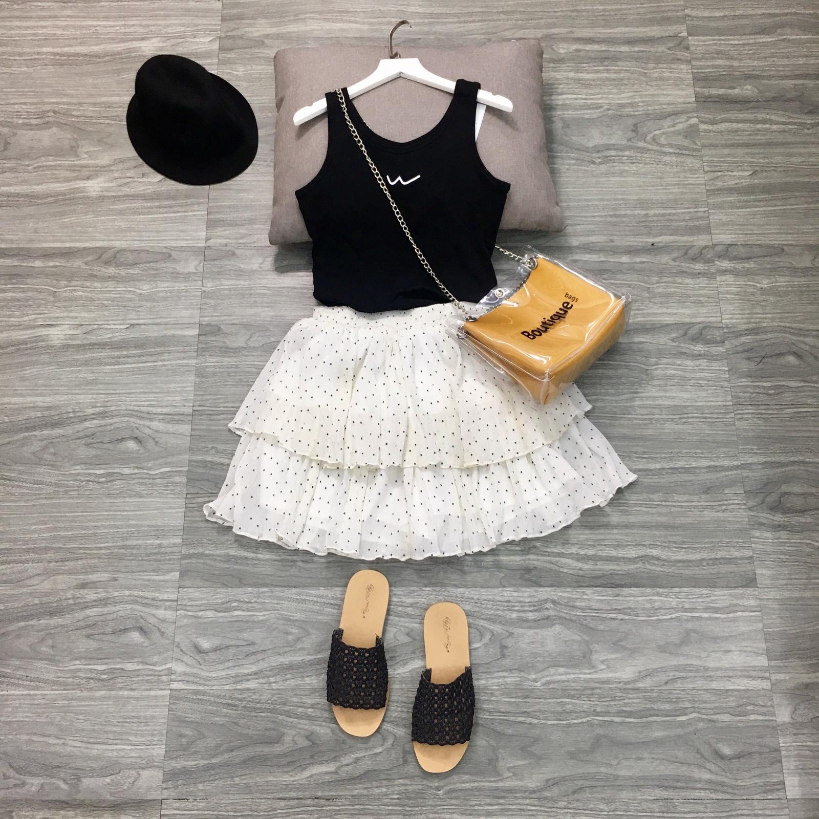 maymkon韩版甜美雪纺波点点短裙子蓬蓬裙松紧腰蛋糕裙半身裙裤夏