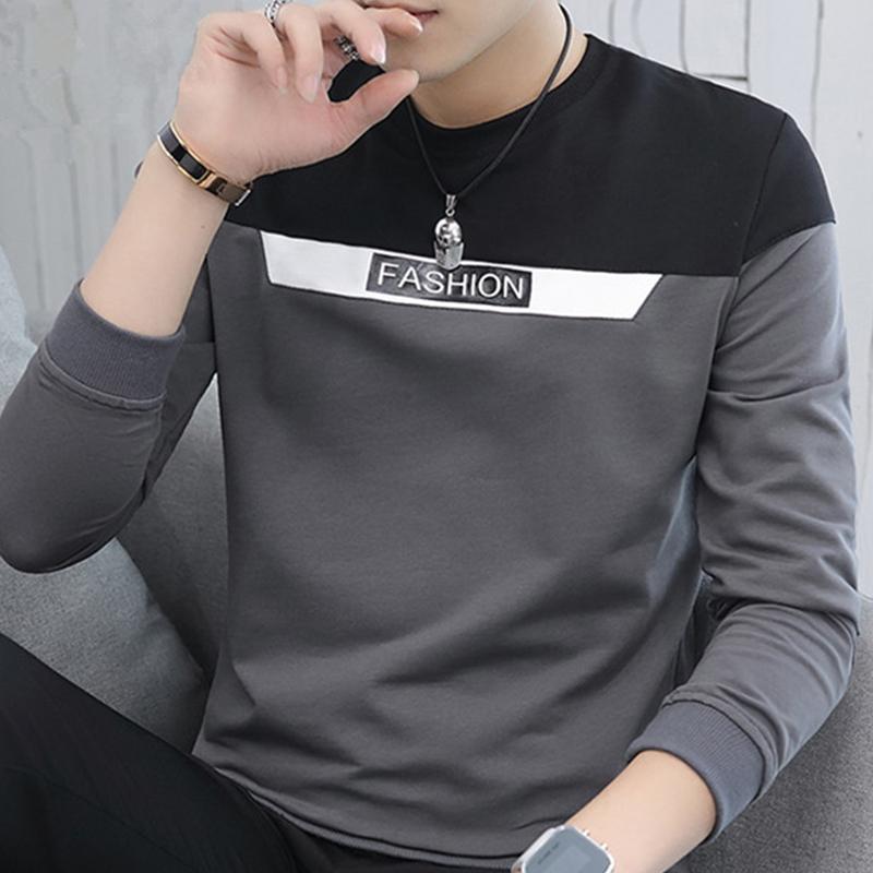 男士长袖T恤春季新款修身卫衣潮流打底衫加绒秋衣2019上衣服男装