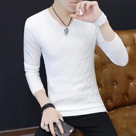 长袖t恤男士修身春秋装上衣服潮流体恤圆领加绒加厚2020新款毛衣