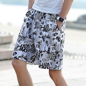 夏天宽松速干睡裤男士沙滩裤运动五分花短裤休闲七分大裤衩泳裤男