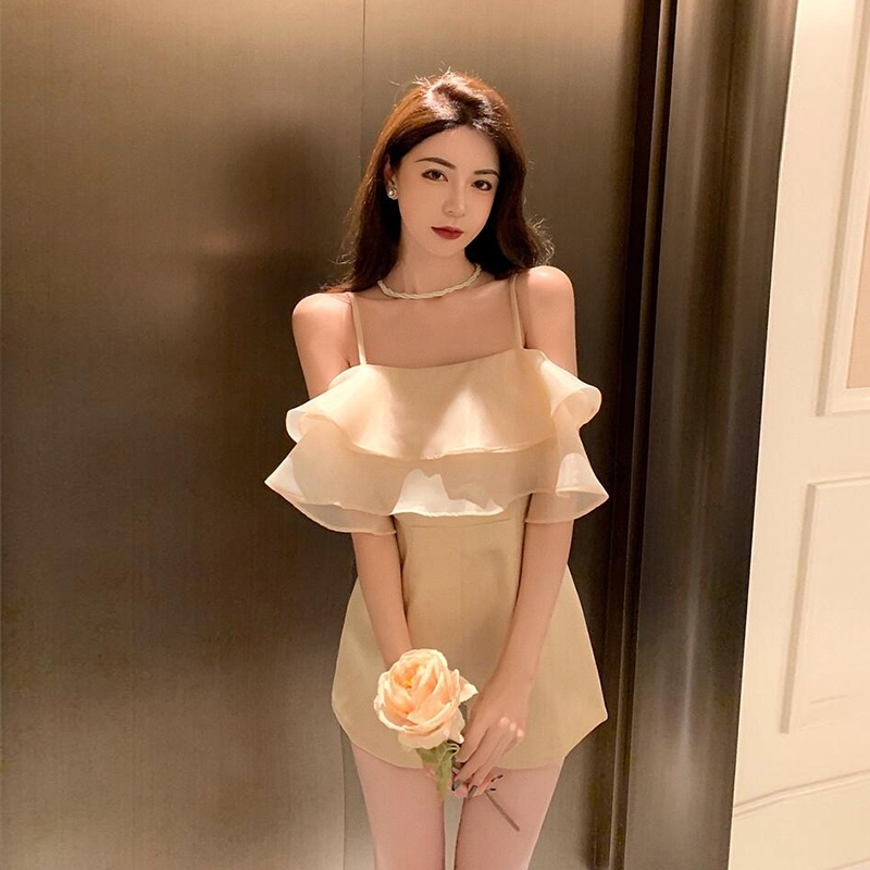 Suspender Jumpsuit womens summer thin 2021 style Jumpsuit shorts with ruffle French little Jumpsuit