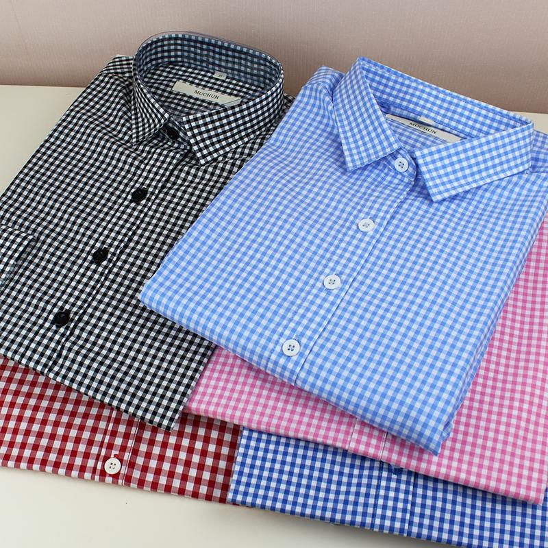 品质黑白格子衬衫女长袖大码蓝色粉色红色绿色经典小格子衬衣纯棉