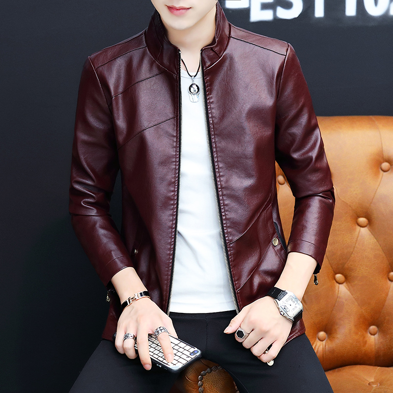 Leather coat men's 2020 spring new men's leather jacket youth Korean slim fit, plush and thickened top trend
