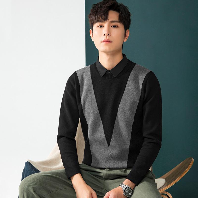 2020秋冬新款假两件毛衣男V形撞色商务男装上班针织衫衬衫领潮流