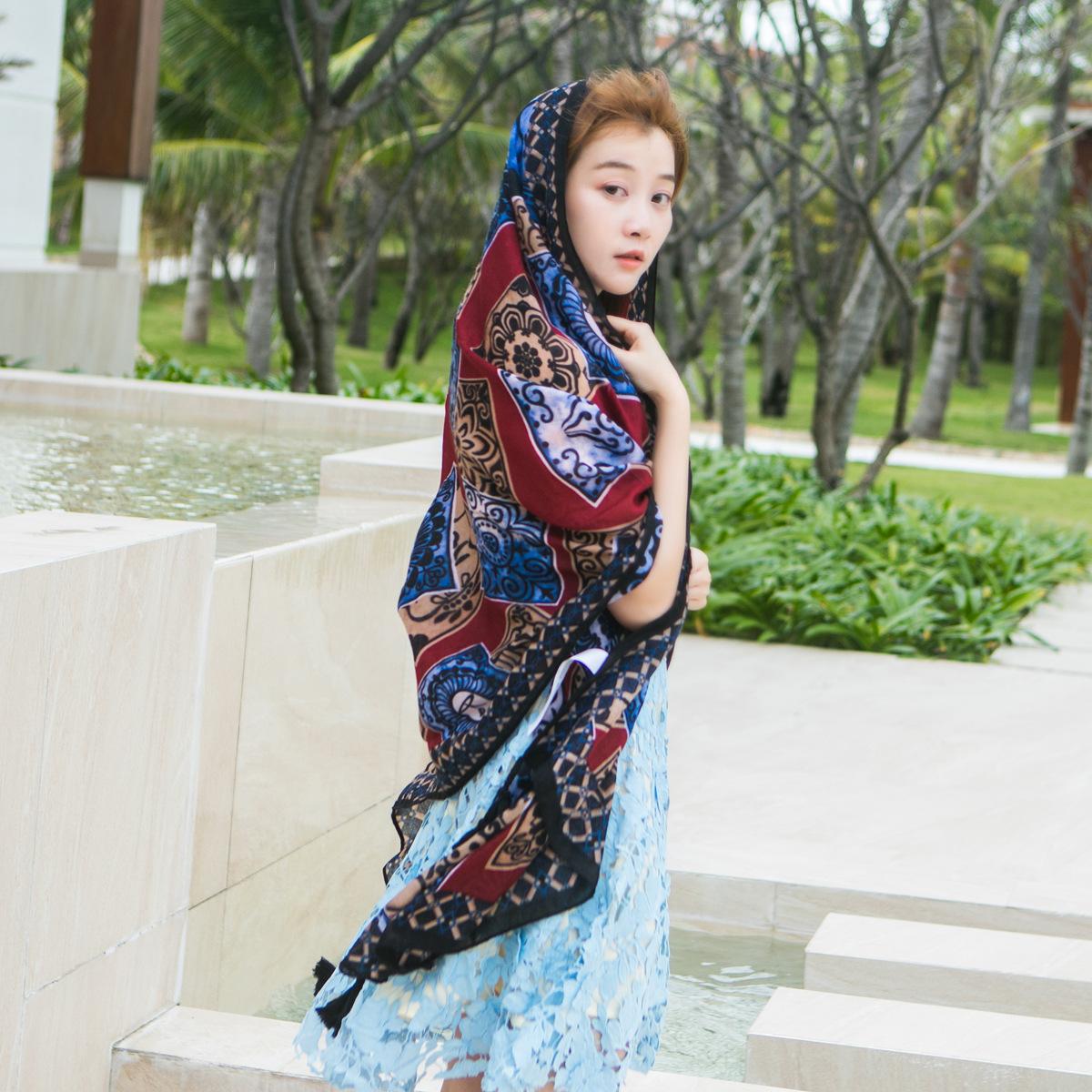 春夏新款民族风旅游拍照围巾 手工挂须棉质柔披肩丝巾围巾女