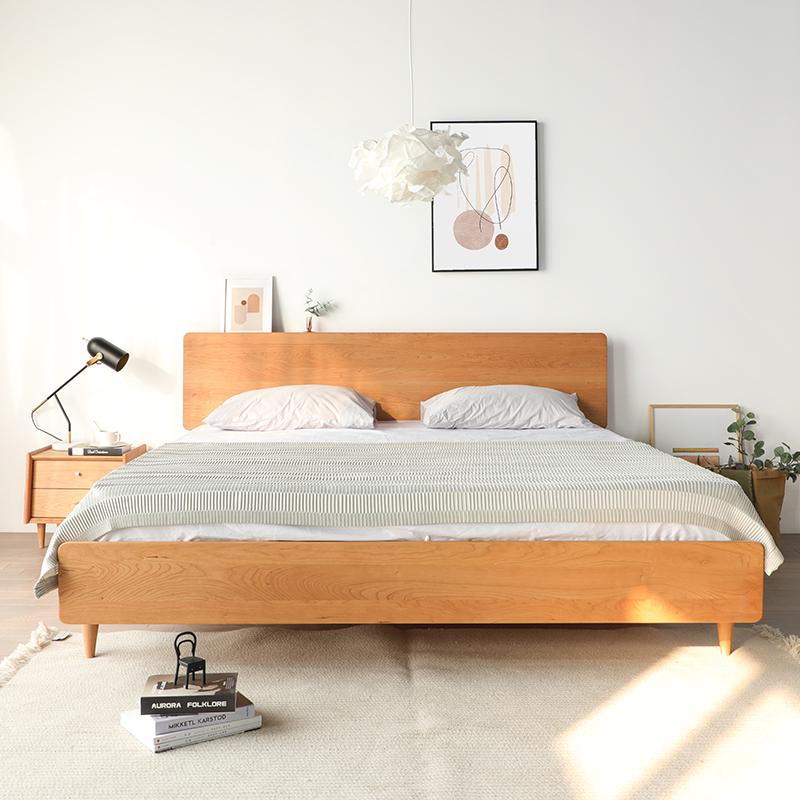 纯实木床北欧简约樱桃木1.5米1.8双人床主卧胡桃木原木色日式新品