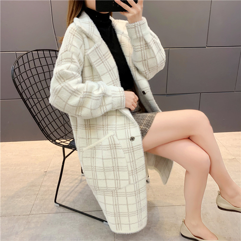 Mink like coat medium length plaid sweater womens thickened autumn and winter dress 2020 new mink fur coat cardigan