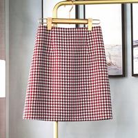 设计感小众轻熟半身裙2021新款夏季女千鸟格子印花a字裙显瘦短裙