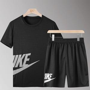 速干运动套装男夏季短袖t恤健身服跑步装备宽松训练背心篮球衣服