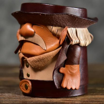 原创设计手工植鞣牛皮笔筒办公创意全牛皮卡通笔桶桌面摆件收纳盒