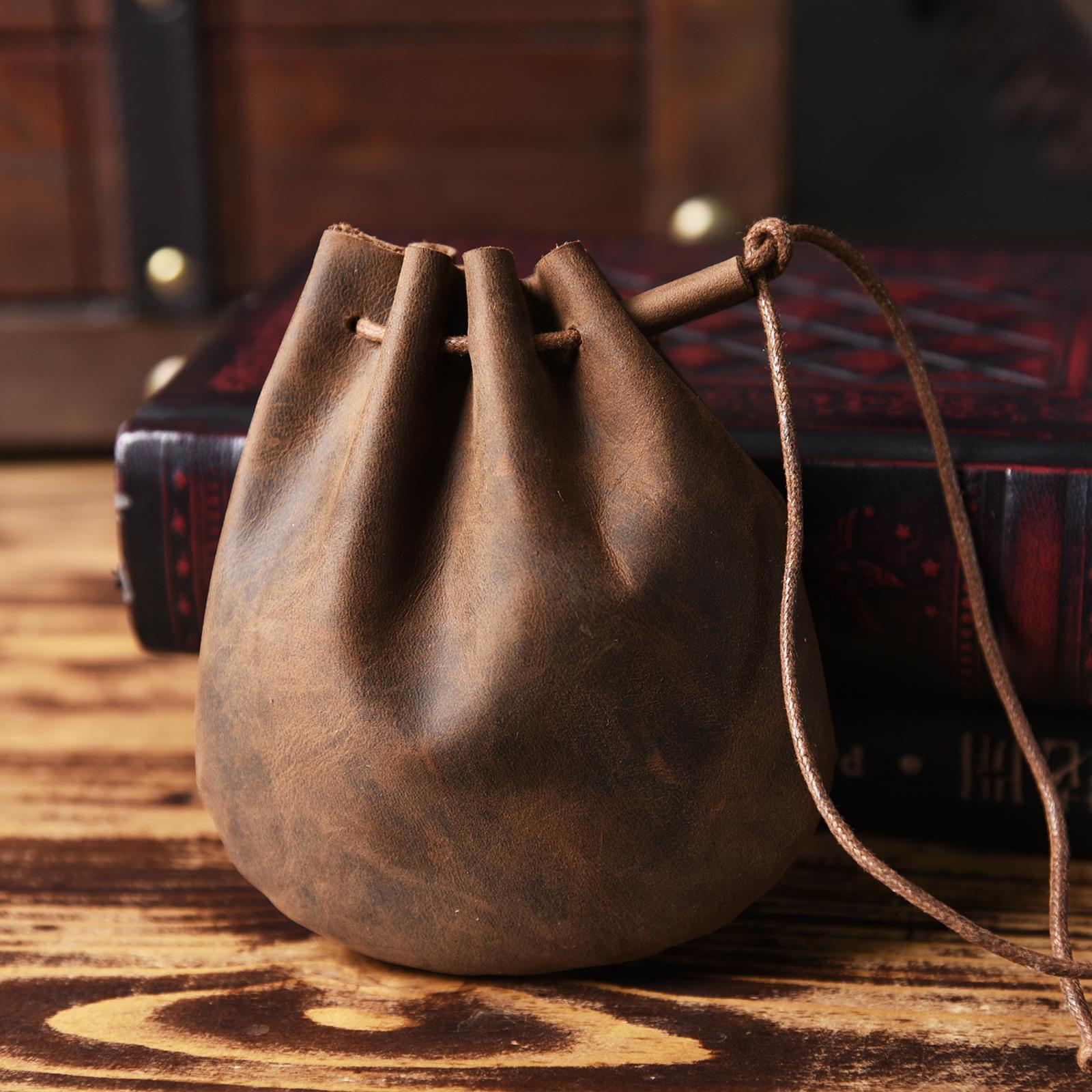 手工製作復古瘋馬牛皮零錢包真皮懷舊風硬幣包純皮抽繩束口收納袋