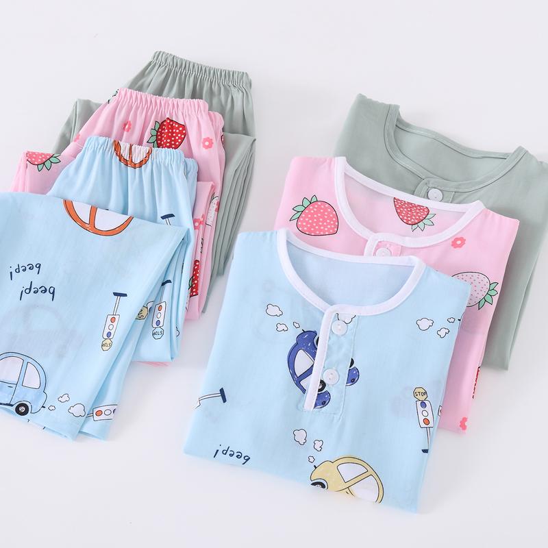 夏季儿童棉绸睡衣男童女童宝宝绵绸长袖夏天薄款空调服家居服套装