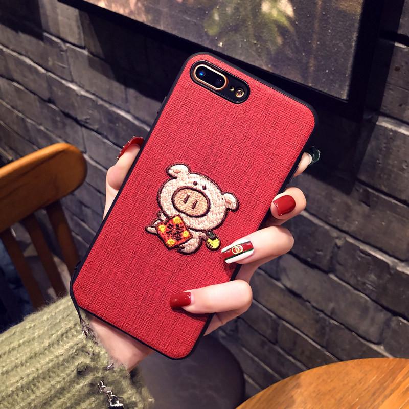 小猪苹果iPhonex手机壳苹果Xs max刺绣硅胶6Splus苹果7plus创意8p防摔个性XR本命年i6发财猪网红女款