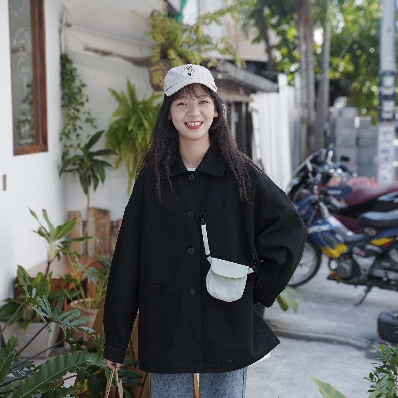 春装新款港味学生黑色工装外套 纯色外套不需要华丽的装饰