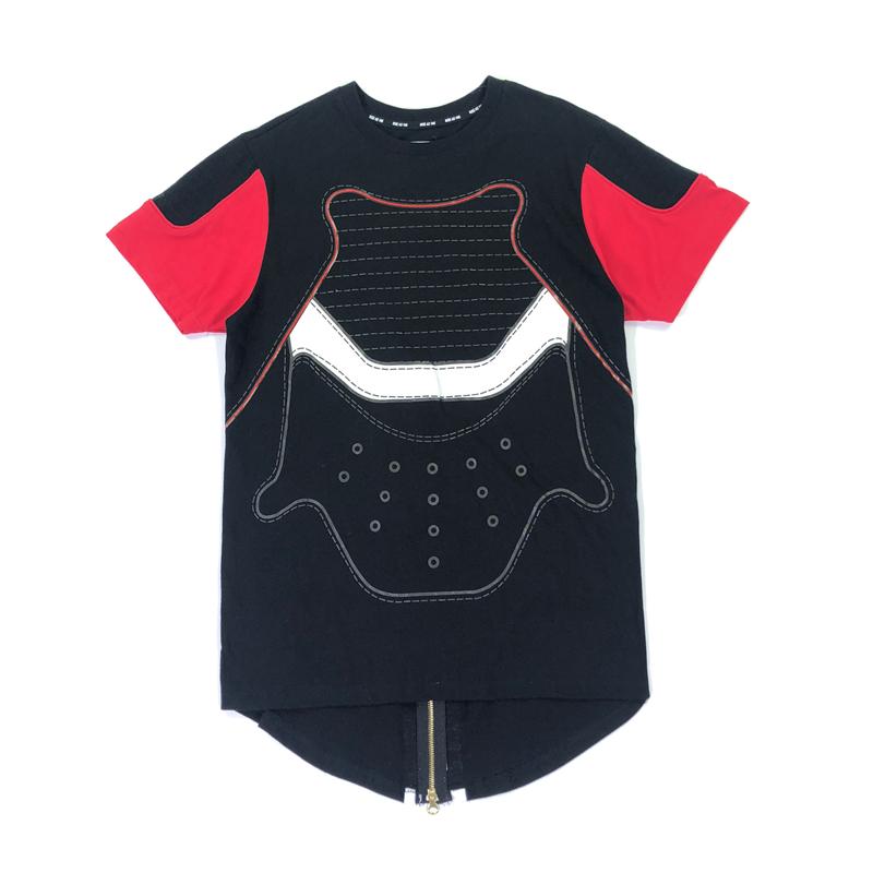 福利新款胸白袖颜色红白随机跑量元旦男款圆领短袖T恤后背拉链