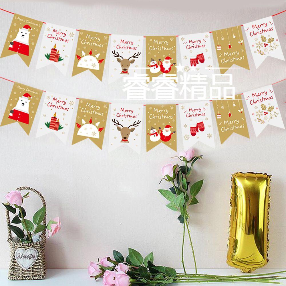 Christmas banner Xmas Santa bunting paper pull flag ornament