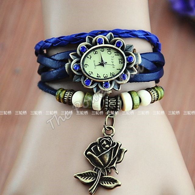 Leather Women Dress Bracelet Watch Vintage Wrist Girls Cut
