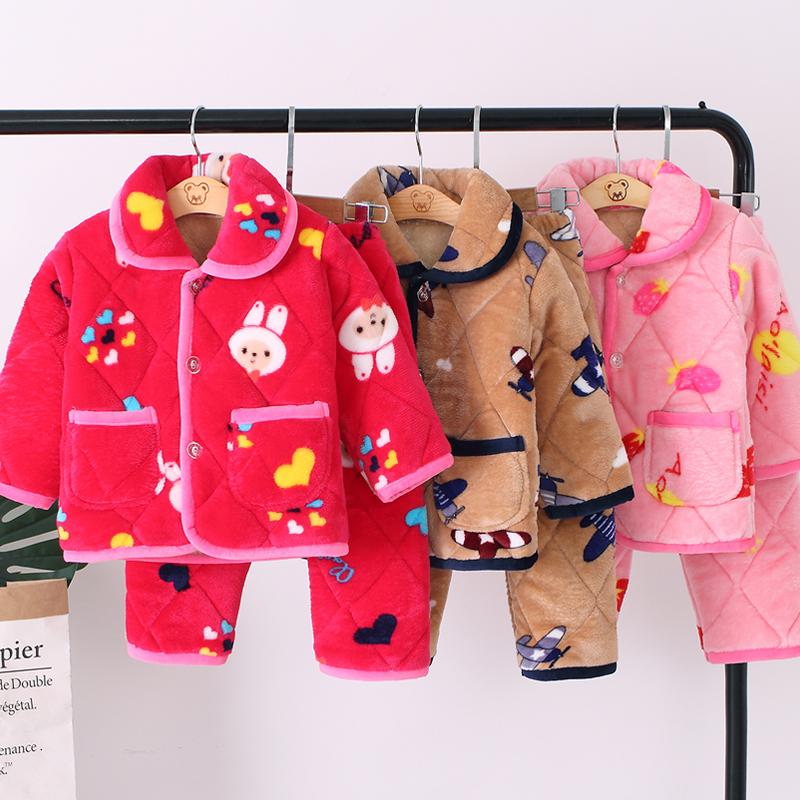 秋冬季儿童珊瑚绒睡衣套装男童女童加厚法兰绒夹棉宝宝小孩家居服 thumbnail
