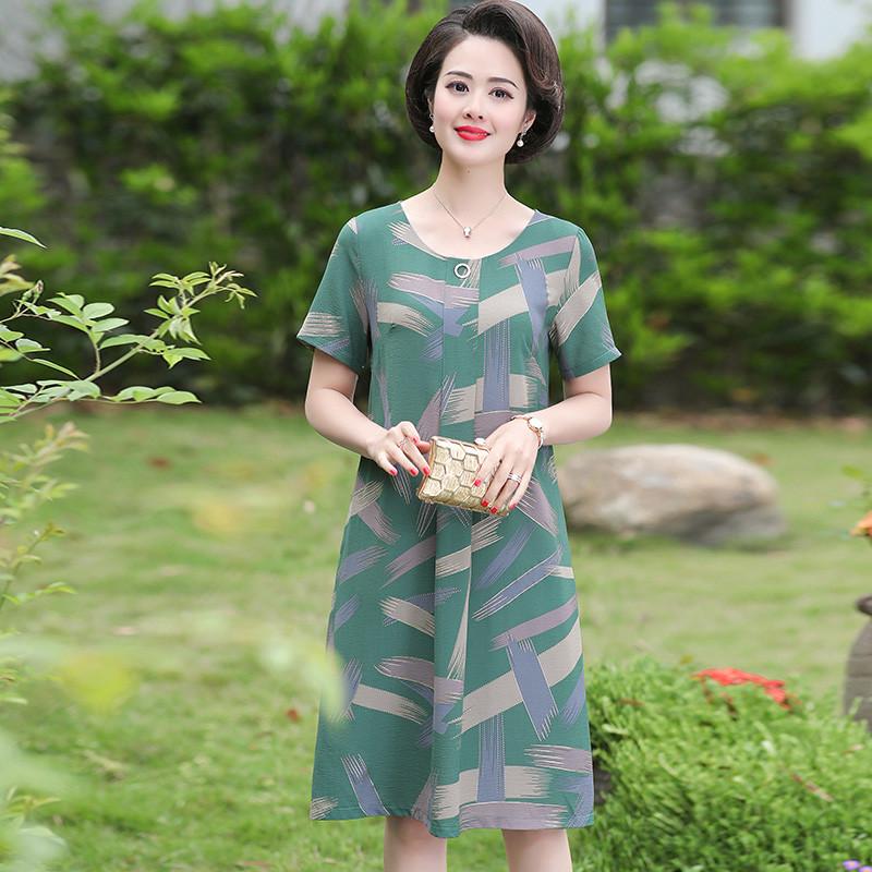 妈妈夏装短袖洋气中老年女装连衣裙(用50元券)