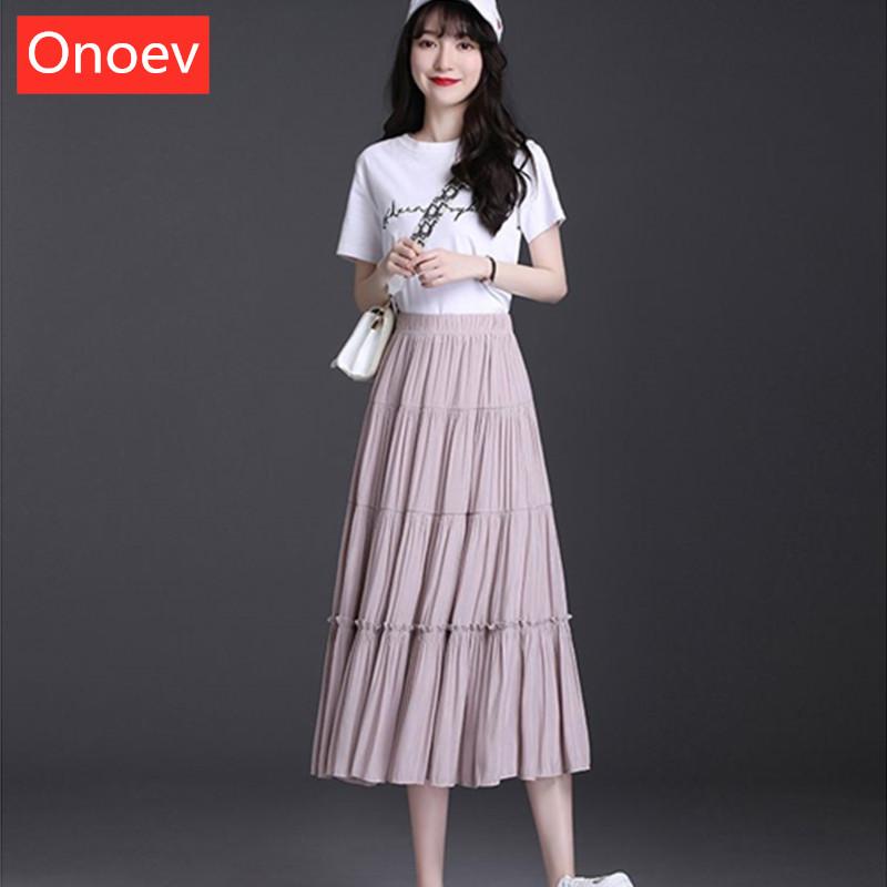 雪纺纯色半身裙女夏季高腰舒适新款显瘦抖音同款拼接中长款百褶裙