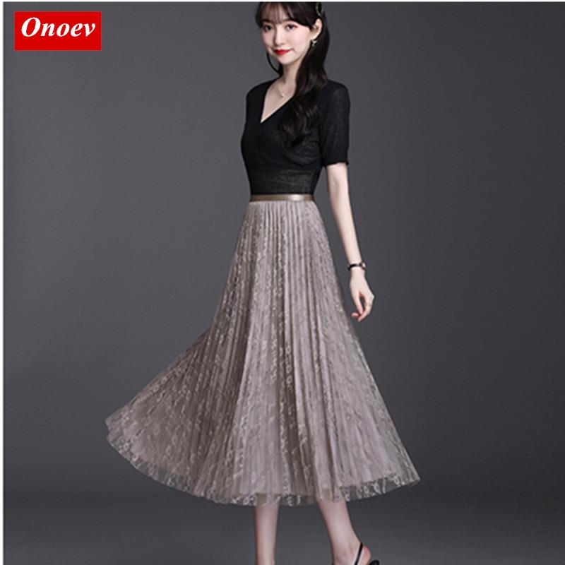 网红雪纺半身裙女夏高腰显瘦垂感小个子优雅大码中长款蕾丝百褶裙