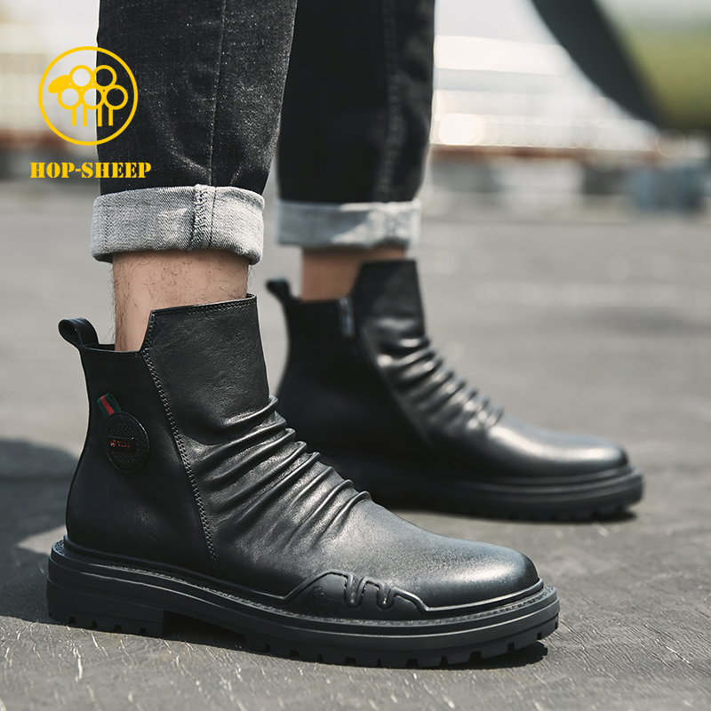 Street black sheep Chelsea Boots Mens high top Martin boots mens British style leather winter new boots mens casual shoes