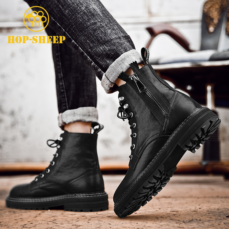 Head leather Martin boots mens high top leather tooling British winter Plush black locomotive leather boots side zipper