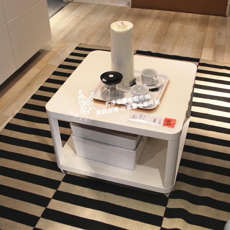温馨宜家IKEA新贝脚轮边桌小餐桌移动茶几咖啡桌方桌脚轮桌子包邮