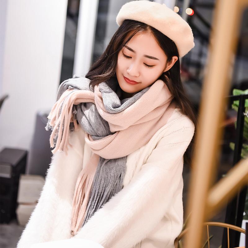 日韩版纯色仿羊绒围巾女冬季新款 时尚保暖流苏拼色条纹围巾