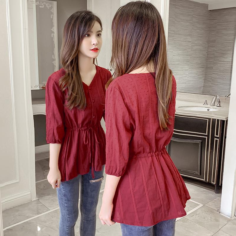 衬衫女2020夏装新款韩版气质优雅V领短袖收腰显瘦系带雪纺上衣女
