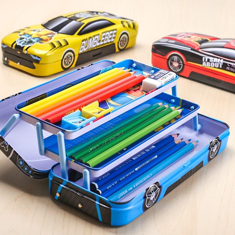 男生文具铅笔铁质盒小学生幼儿园儿童自动多功能汽车男孩男童三层