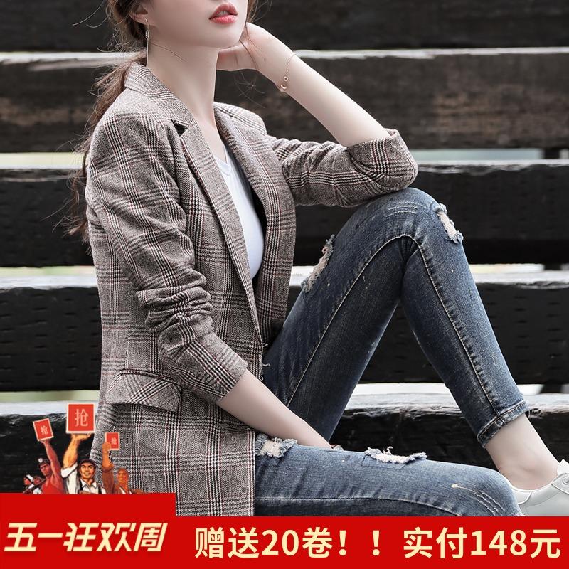 小西装女外套春秋季2019新款复古格子英伦风chic网红格纹西服上衣