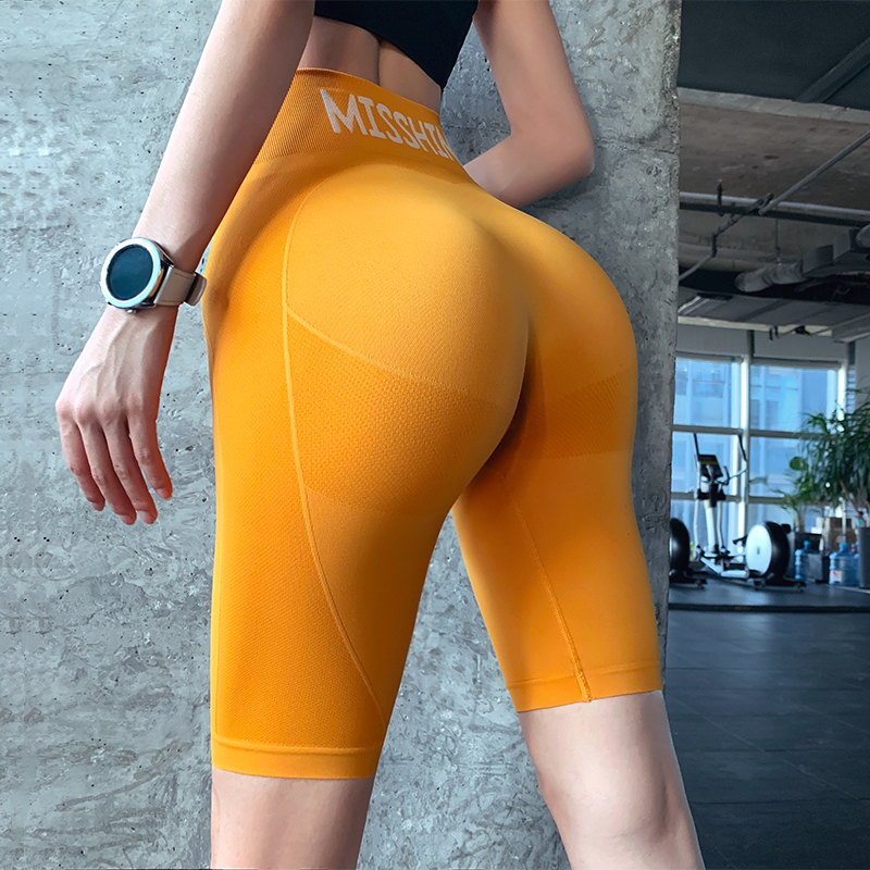 岚 纹 high waist tight sports pants female summer hip training fitness pants running abdomen casual yoga five pants