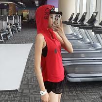 岚纹运动无袖上衣女短袖跑步夏季健身背心连帽宽松显瘦瑜伽上衣酷