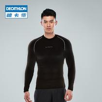 迪卡侬紧身衣长袖健身衣服运动套装男速干衣篮球跑步训练服T恤KPA