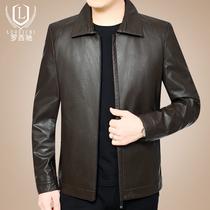 皮衣男爸爸春秋装外套40岁50中年男装薄款翻领上衣中年男士皮夹克