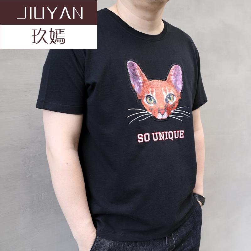 玖嫣夏新款猫头潮胖子大码男装加肥加大号圆领男士短袖t恤半袖