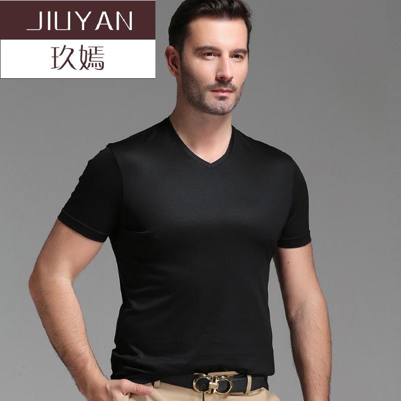 玖嫣2018夏季男士桑蚕丝短袖T恤V领薄款中年休闲宽松黑色体恤