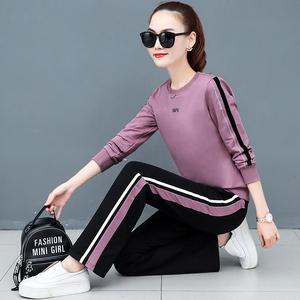 运动套装女春秋季2021新款韩版时尚洋气休闲装宽松圆领卫衣两件套