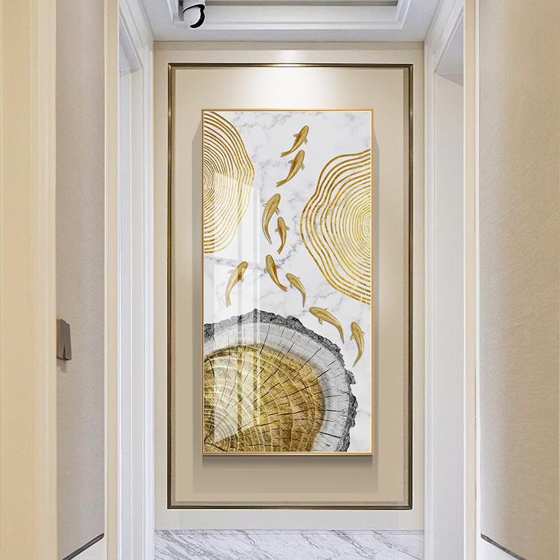 九鱼图玄关装饰画入户轻奢挂画晶瓷壁画客厅招财走廊竖版过道墙画